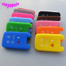 Xinyuexin Silicone Car Key Cover FOB Case For Volvo C30 C70 S40 S60 S70 S80 V40 V50 V70 XC60 XC90 Flip Remote Car Key Case Cover