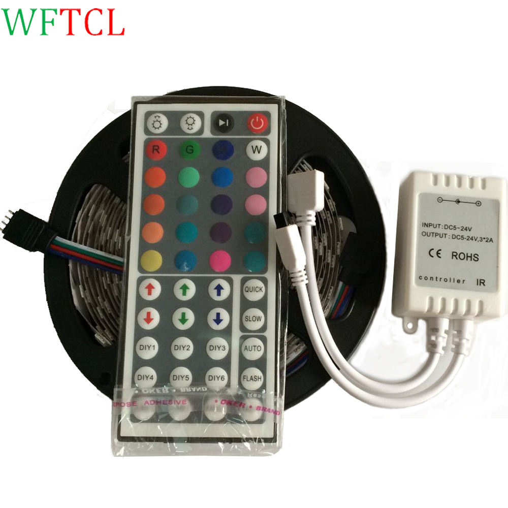 WFTCL 5M RGB Bande LED Flexible light SMD 5050 DC12V 60LED/m 300leds LED ribbon tape Light with IR 44 Keys Remote Controller