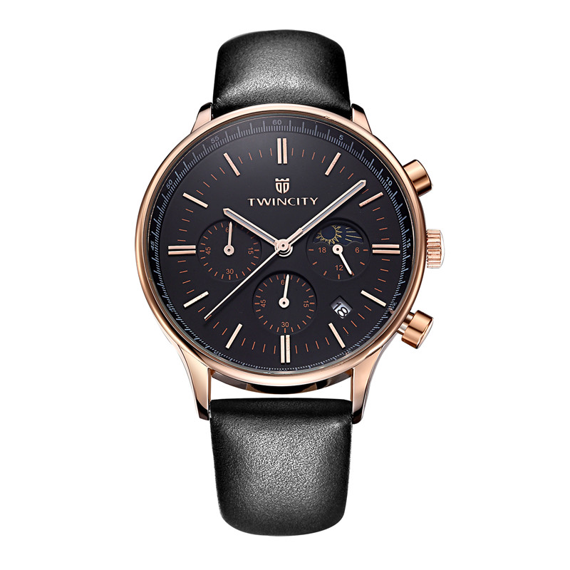 Brand Luxury mens chronograph quartz watch reloj chrono Moon phase Relogio brand dress leather automatic date wristwatches<br><br>Aliexpress