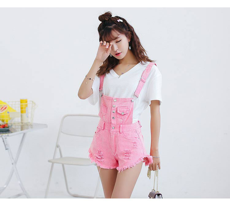 Denim Bibs Schoolgirl 2018 Spring New Loose Korean Thin Thin hole Flashes Fringe Shorts (13)
