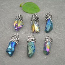 10pcs Mixed Color Titanium Quartz Crystal Point Pendant, With Crystal Paved Caps Gems stone Drusy Quartz Druzy Pendant Jewelry