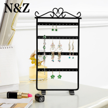 Earring display Jewelry Display Jewelry Organizer 48 Holes Black color Metal Earring Jewelry Display Rack Stand Holder()