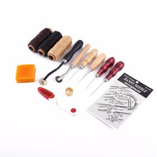 13Pcs Leather Craft Hand Stitching Sewing Tool Thread Awl Waxed Thimble Kit(Hong Kong)