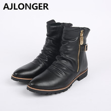 Spring and Autumn trend martin boots male boots fashion tall  pointed toe PU leather  men's high shoes