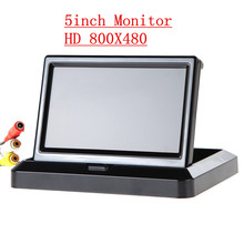 "Free Shipping 800X480 TFT 5"" Car Rear View System Foldable Folable Car Rearview Monitor In-Dash for Backup Camera DVD VCR Black"