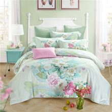 Luxury Quality 100% natural Tencel silk  big flower green Spring summer 4pcs bedding set duvet cover bedlinen Queen/King/B3579