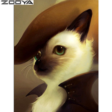 ZOOYA Embroidery With Diamonds Cat Needlework Diy Dmc Cross Stitch Household Products Wall Decor Handicraft And Art Icon AT1570(China)