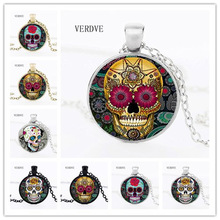 Hot Fashion Classic Mexican Sugar Skull Pendant Necklace Silver Color Chain Day Dead Crystal Skull Necklace Men Jewelery(China)