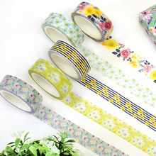 7 pcs/Lot Garden flower paper washi tape Endless summer Decorative adhesive sticker for diary album School Stationery 6387