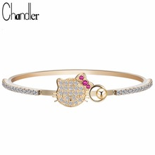 Chandler Cubic Zircon Kitty Cat Bracelets Bangles Baby Girl Gold Color Animal Jewelry For Kids Maneki Neko Gift Cuff Arm pulsera