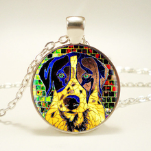 1pcs/lot Mosaic Dog Logo Silver Pendant Necklace Long Chian Statement Handmade Necklace For Gift