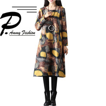 Fleece Lining Warm Graffiti Jumper Dress 2017 Ladies Oversized Long Sleeve Loose Thicken Tunic Winter Fashion O-Neck Pullover(China)
