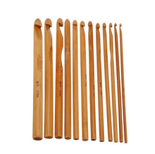 "[3.0-10.0mm] 12Pcs 6"" 15cm Carbonized Bamboo Handle Crochet Hooks Knit Weave Yarn Craft Knitting Needles Tools Set(China)"
