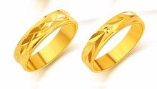 Gold Ring Men /Women Gift Wholesale 24k Real dubai  thiness Classic Gold Wedding Bands Rings for Men Jewelry