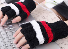 Outdoor Tools Plush USB Gloves Heating Hands Warmer for PC Laptop Typing Gaming Fingerless Cycling Gloves(China)