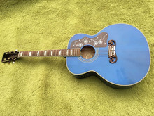 2017 New + Factory + Chibson J200 acoustic guitar transparent blue GB J200 electric acoustic presys blend Mic guitar Jumbo SJ200(China)