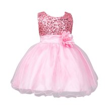 2017 Infant Elegant Princess Dresses Baby Girls Mesh Formal Sleeveless Bling Sashes Flower Party ceremonial robe Girl Dress