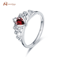 Water Drop Red Crystal Zircon Queen Crown Rings for Women Vintage White Gold Filled Wedding Ring 925 Silver Fashion Jewelry(China)