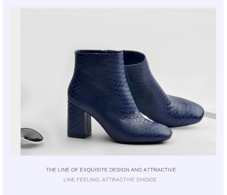 Donna-in 2017 new style ankle boots sexy snake leather women boots retro square toe thick high heel autumn boots 15325-19 (4)