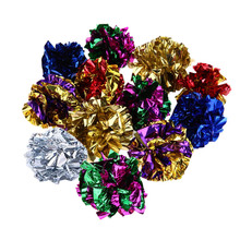 12Pcs Multicolor Mylar Crinkle Ball Cat Toys Ring Paper Cat Toy Interactive Sound Ring Paper Kitten Playing Balls Car Supplies(China)