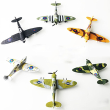 6PCS Plastic DIY Military Spitfire Fighter Plane Model Building Kits 4D WW2 Airplane Bricks Model Aircraft Toy For Children(China)