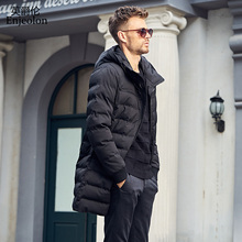 Enjeolon Brand winter Cotton Padded long Jacket oat Men Windproof hooded Parka black Thick Quilted plus size 3XL Coat Men MF0296(China)