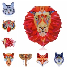 Acrylic Brooch Natural animal Brooches Tiger Lion Fox wolf elephant Cat Brooch For Women Best Gift Jewelry Accessories(China)