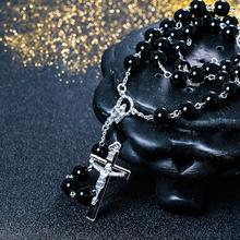 Black stone Wood Beads with black stone cross Pendant Rosary Necklace Men Woman Mala jewelry