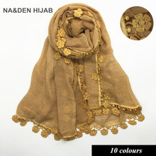 2017 New style solid colour lace edge scarf women fashion soft cotton shawl echarpe wraps scarves Muslim hijabs pashimina 10pcs(China)