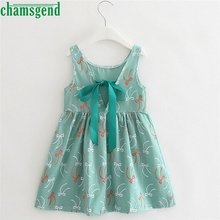 CHAMSGEND drop ship Fashion Summer Cute Baby Kid Girls Sleeveless One Piece Dress Print Bowknot green Dress Summer Feb7 S35(China)