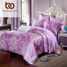 BeddingOutlet Green Bedding Set Cozy Solid Duvet Cover Tribute Silk for Bedroom Bed Sheet Queen King 4pcs