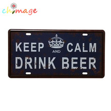 KEEP CALM AND DRING BEER License CAR PLATE Vintage Tin Sign Bar pub home Wall Decor Retro Metal Art Poster(China)