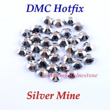 Buy DMC Silver Mine SS6 SS10 SS16 SS20 Glass Crystals Hotfix Rhinestone Iron-on Rhinestones Shiny DIY Garment Bag Glue for $1.38 in AliExpress store