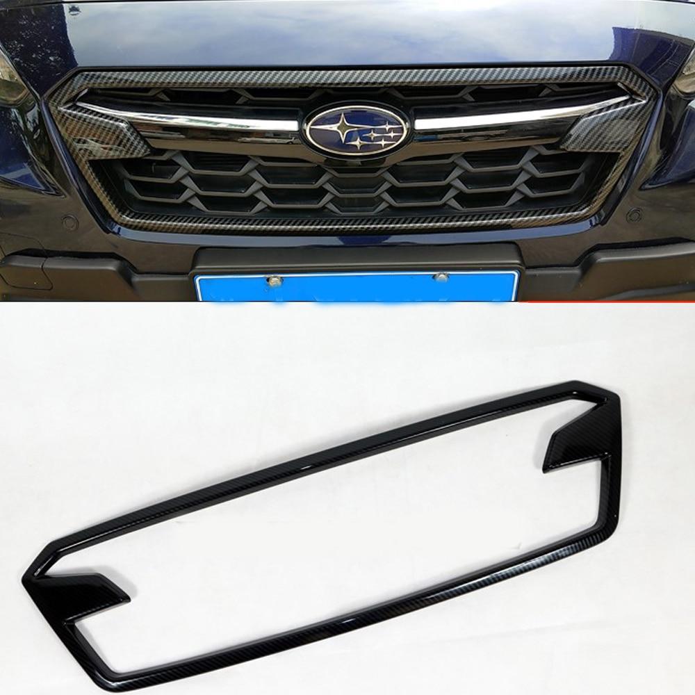 Carbon Fiber Style Front Center Grille Cover Trim For Subaru Crosstrek XV 2018