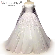 Romantic Boat Neck Handmade Flowers A Line Arabic Wedding Gowns Floor Length Long Train Wedding Dresses Robe De Mariee Princesse(China)