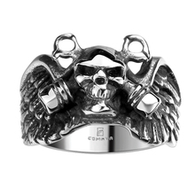 Gothic Skeleton Skull Head Stainless Steel Biker Black Rings Men's Wings Demon Party Charm Fine Jewelry Gifts Bijoux Bague Homme(China)