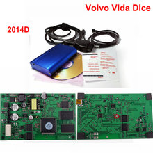 3pcs Latest Version 2014D for VOLVO Diagnostic Scanner Multi-language for Volvo Vida Dice with Green Board  DHL Free Shipping