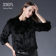 2017 Hot Real Rabbit Fur Coat Female O-Neck Fashion Genuine Fur Coats Natural Real Rabbit Fur Coat Winter Women Fur Short Jacket(China)