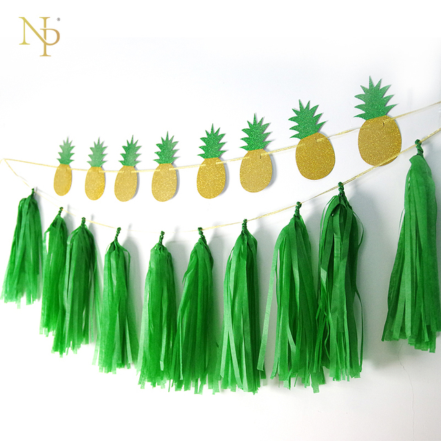 Nicro Gold Green Glitter Pineapple Garland Diy Party 8 Pc 10pc Tel