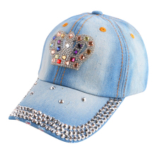 new fashion baby children luxury crown baseball cap denim rhinestone brand caps for boy girl cute snapback outdoor casquette