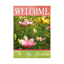 Welcome To My Garden Decorative Outdoor And Indoor Flags 100% Polyester Beautiful Flowers Designs Pringing Home Yard Banners(China)