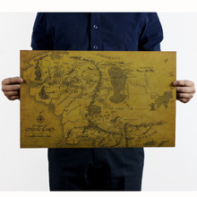 Middle Earth Map On Lord of the Rings Vintage Movie Paper Poster House Decoration Wall Painting Retro Poste Wall Sticker 51x36cm