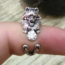 Drop Shipping Retro punk Pomeranian Ring free size cute hippie animal  dog Rings White rhinestone jewelry for pet lovers