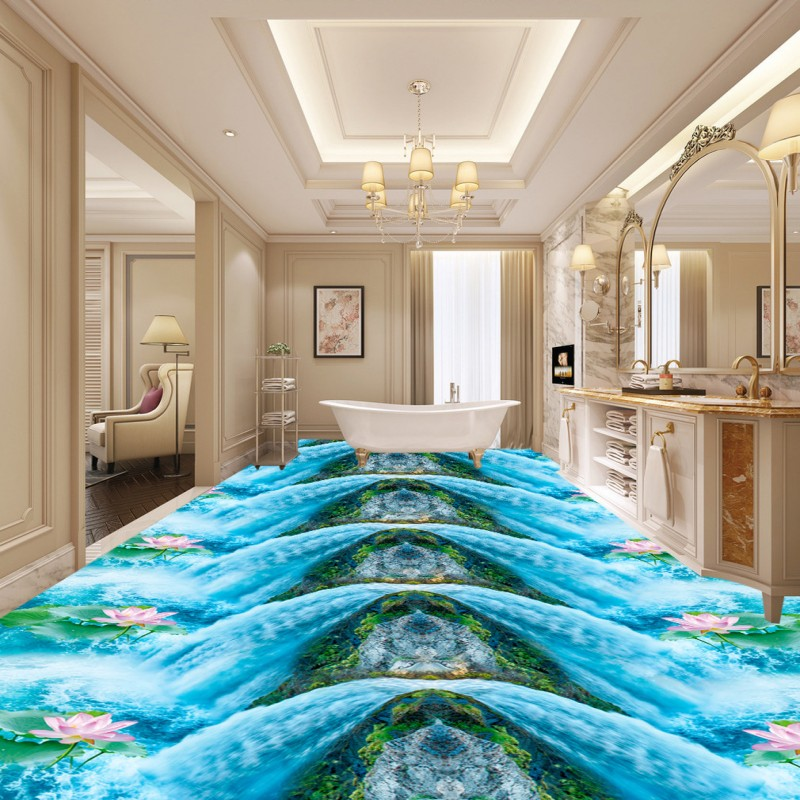 Free Shipping Waterfall Lotus Bath Kitchen Walkway 3D Floor waterproof bedroom living room kitchen flooring wallpaper mural<br><br>Aliexpress