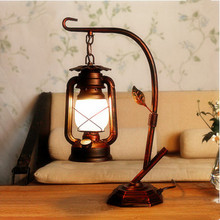 Southeast Asia retro frosted glass Table Lamps American classic antique E27 LED iron lamp for bedside&foyer&bar&cafe LDK030