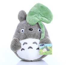 Free shipping wholesale 17cm/22cm lovely plush toy, my neighbor totoro plush toy lovely doll totoro with lotus leaf(China)