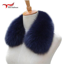 Real fox Fur Collar Scarf Womens Shawl Wraps Shrug Neck Warmer Black Stole Wholesale Hot sale Ring Scarf Womens L#11(China)