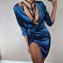 Buy BKLD Satin Party Club Dress 2017 Deep V Neck Women Autumn Dresses Sexy Bodycon Long Sleeve Ruched Ladies Mini Split Dress for $14.20 in AliExpress store