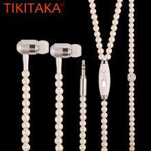 Fashion Bling Pearl Plated Necklace Design Earphone Super Stereo In Ear Earphones For Apple Android Smartphone