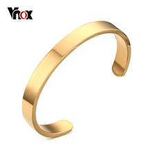 "Buy Vnox Mens Cuff Bangle & Bracelet Gold-color High Stainless Steel Simple Bracelets Pulseiras Jewelry 2.5"" Dia for $5.16 in AliExpress store"